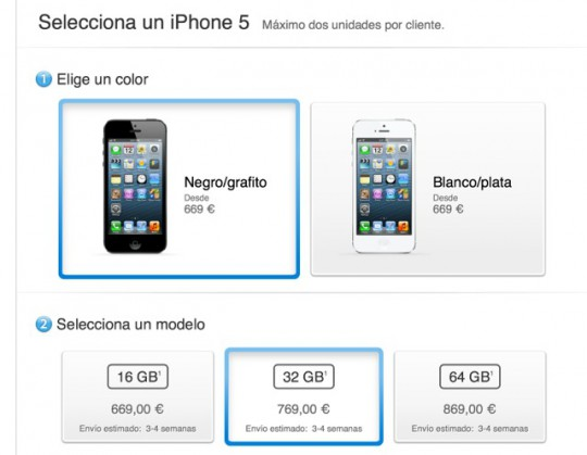 iPhone 5 in Spain